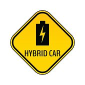 Hybrid car caution sticker. Save energy automobile warning sign. Charging battery icon in yellow and black rhombus.