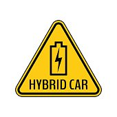Hybrid car caution sticker. Save energy automobile warning sign. Charging battery contour icon in yellow triangle.