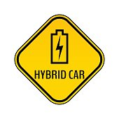 Hybrid car caution sticker. Save energy automobile warning sign. Charging battery contour icon in yellow rhombus.