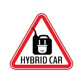 Hybrid car caution sticker. Save energy automobile warning sign. Electric plug on fuel canister icon in red triangle.