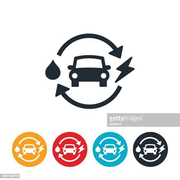 hybrid car icon - hybrid car stock illustrations, clip art, cartoons, & icons