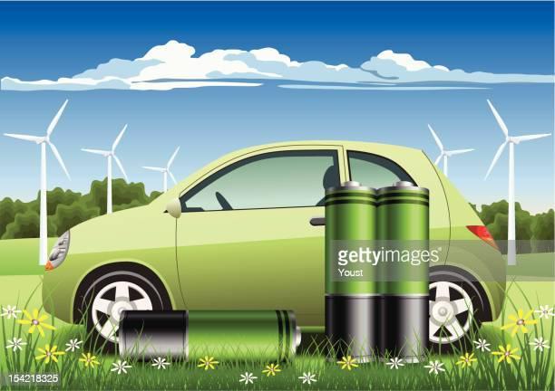 hybrid car with eco batteries - hybrid car stock illustrations, clip art, cartoons, & icons