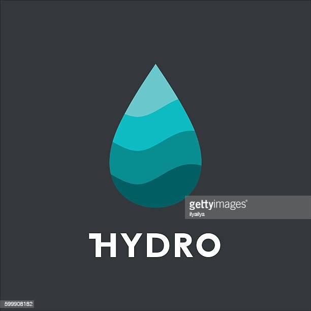 hydro concept logo. drop flat icon - distillation stock illustrations, clip art, cartoons, & icons