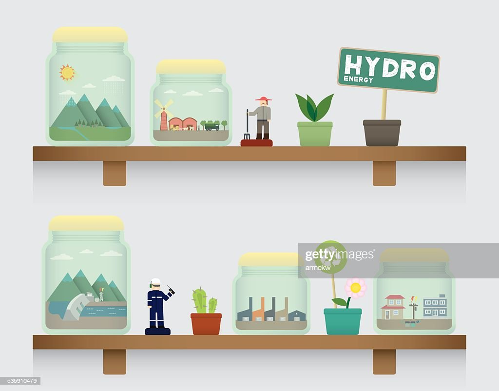 hydro Energie in Krug : Vektorgrafik