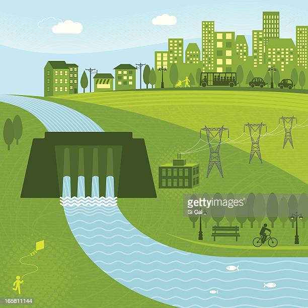 hydro energy - hydroelectric power stock illustrations