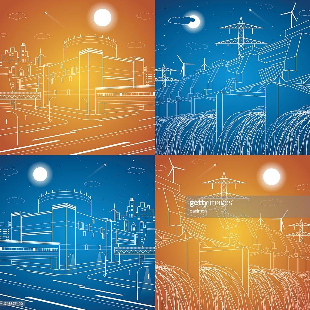 Hydro power plant, power station, energy illustration