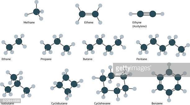 kohlenwasserstoff moleküle satz - molekül stock-grafiken, -clipart, -cartoons und -symbole