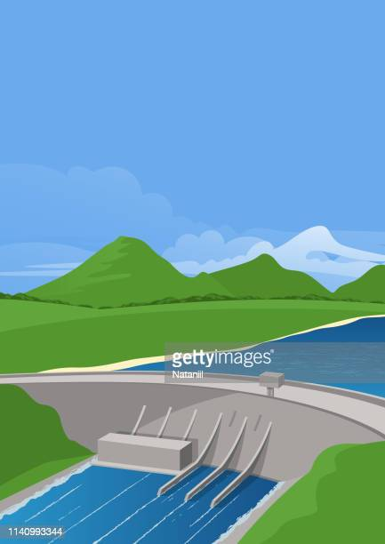 hydroelectric power plant - dam stock illustrations