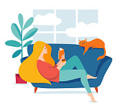 Hygge illustration with a woman reading a book