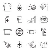 hygiene and Cleaning icons set