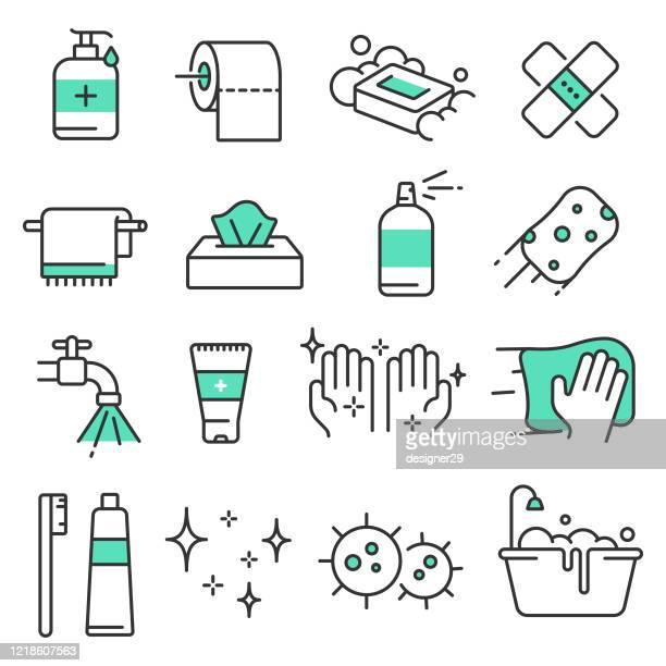 hygiene und reinigung linie icon set vector design. - nass stock-grafiken, -clipart, -cartoons und -symbole
