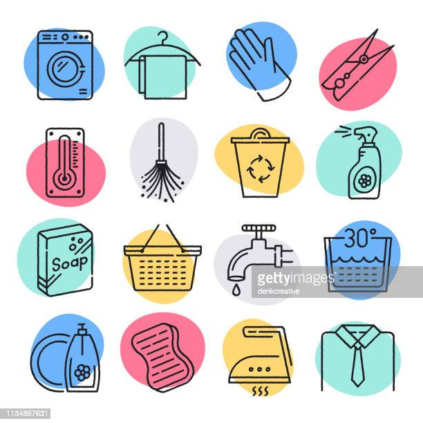 hygiene control in food industry doodle style vector icon set - washing hands stock illustrations
