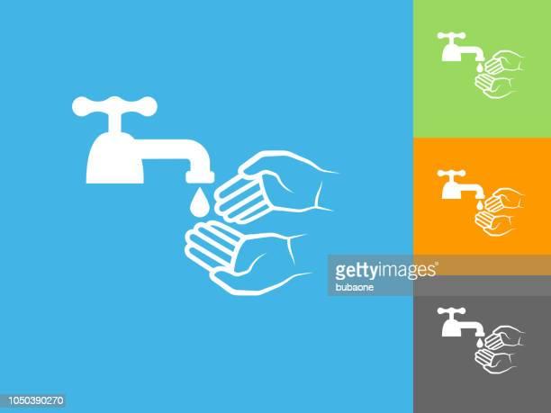 ilustraciones, imágenes clip art, dibujos animados e iconos de stock de higiene icono plano sobre fondo azul - lavado de manos
