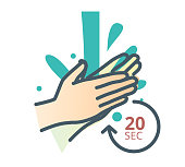Hygiene - Handwash - 20 Seconds - Stock Icon
