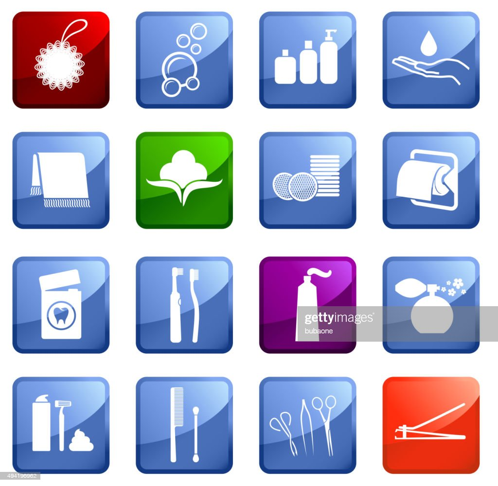 Hygiene icon set on white background.