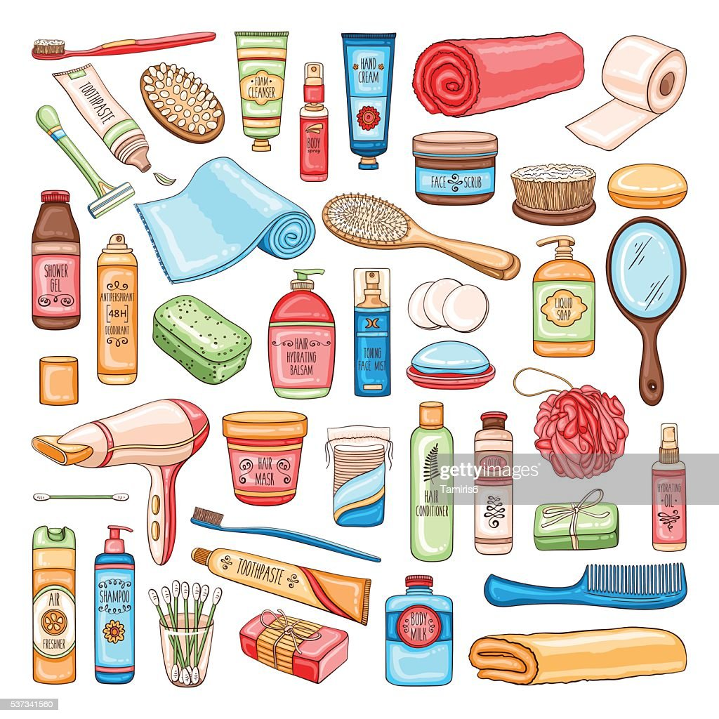 Hygiene set of bathroom equipment, cosmetics and tools