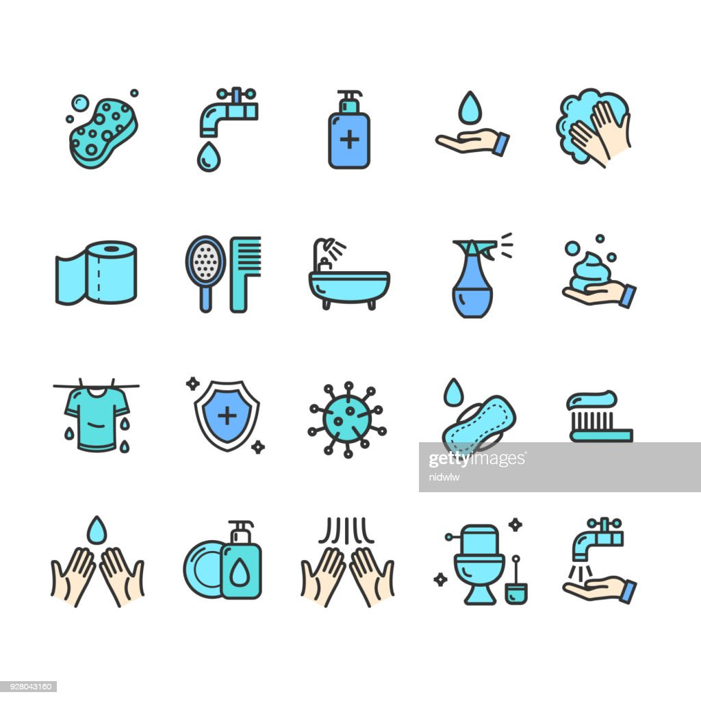 Hygiene Signs Color Thin Line Icon Set. Vector