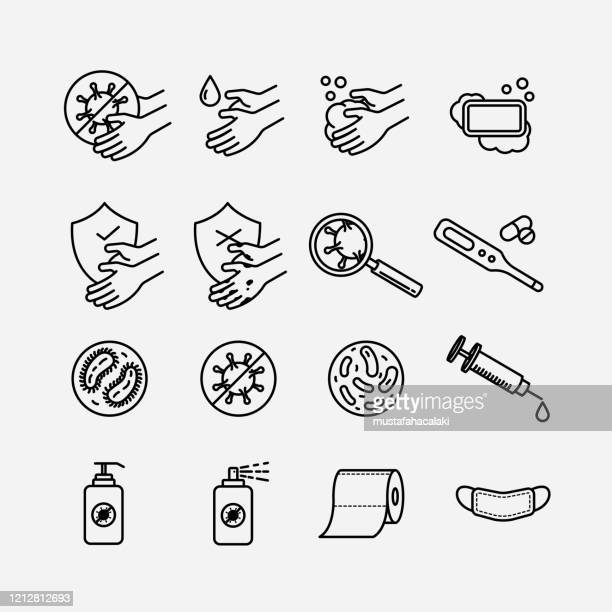 hygiene theme line art icons - washing hands stock illustrations