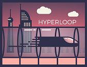Hyperloop, futuristic passenger train. Fast transport vector illustration with a evening skyline.