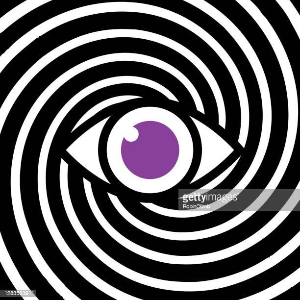hypnotic eye black and white swirl - hypnosis stock illustrations