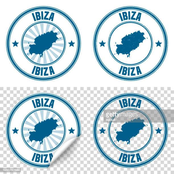 ibiza - blue sticker and stamp with name and map - ibiza island stock illustrations