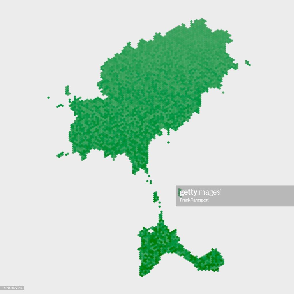 Ibiza-Land-Map-grünen Sechseck-Muster : Vektorgrafik