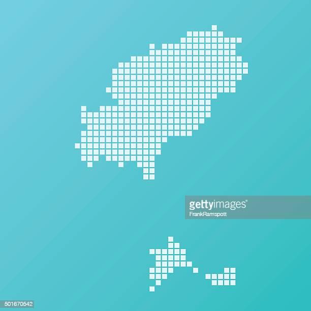 ibiza map basic square pattern turquoise - ibiza island stock illustrations