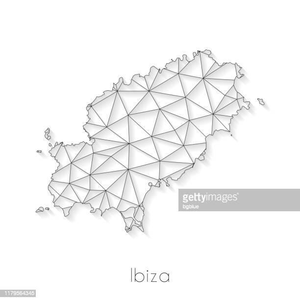 ibiza map connection - network mesh on white background - ibiza island stock illustrations