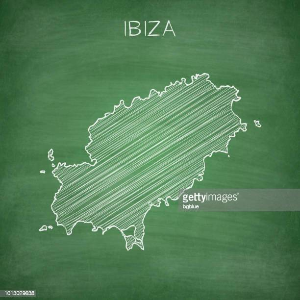 ibiza map drawn on chalkboard - blackboard - ibiza island stock illustrations