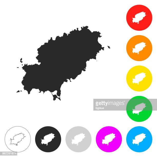 ibiza map - flat icons on different color buttons - ibiza island stock illustrations