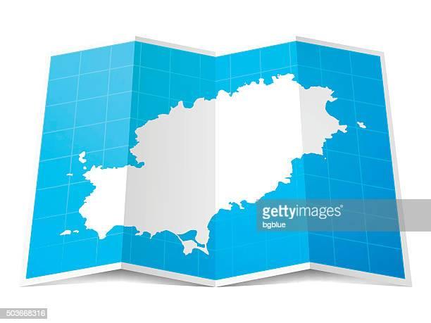 ibiza map folded, isolated on white background - ibiza island stock illustrations