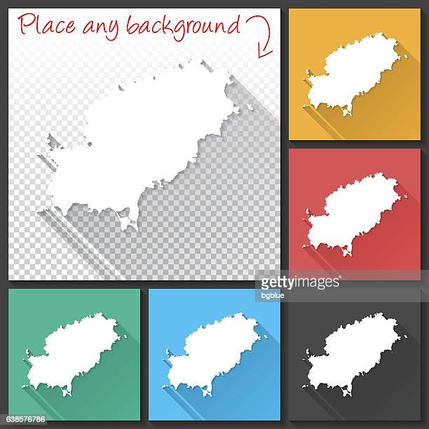 ibiza map for design, long shadow, flat design - ibiza island stock illustrations