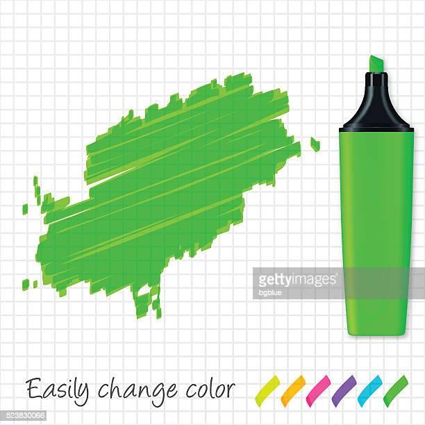 ibiza map hand drawn on grid paper, green highlighter - ibiza island stock illustrations