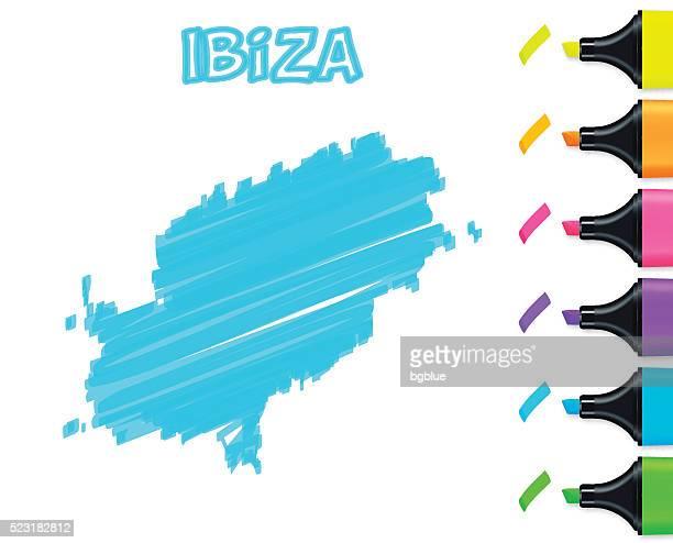 ibiza map hand drawn on white background, blue highlighter - ibiza island stock illustrations