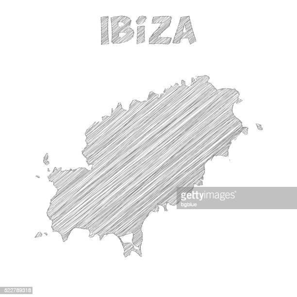 ibiza map hand drawn on white background - ibiza island stock illustrations