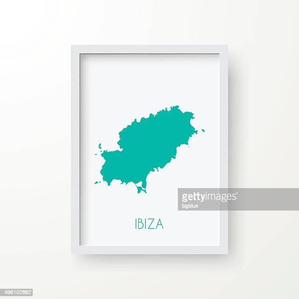 ibiza map in frame on white background - ibiza island stock illustrations