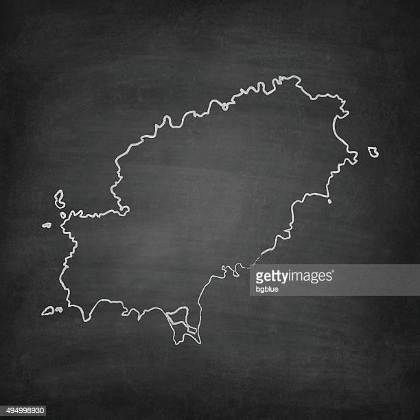 ibiza map on blackboard - chalkboard - ibiza island stock illustrations