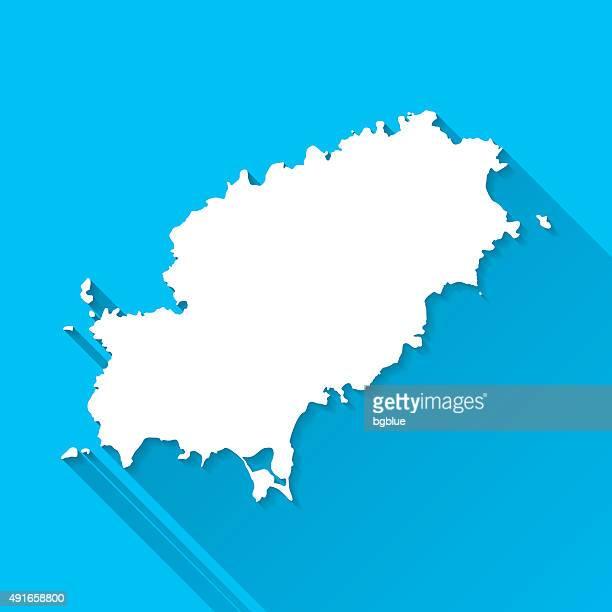 ibiza map on blue background, long shadow, flat design - ibiza island stock illustrations
