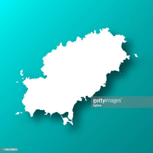 ibiza map on blue green background with shadow - ibiza island stock illustrations