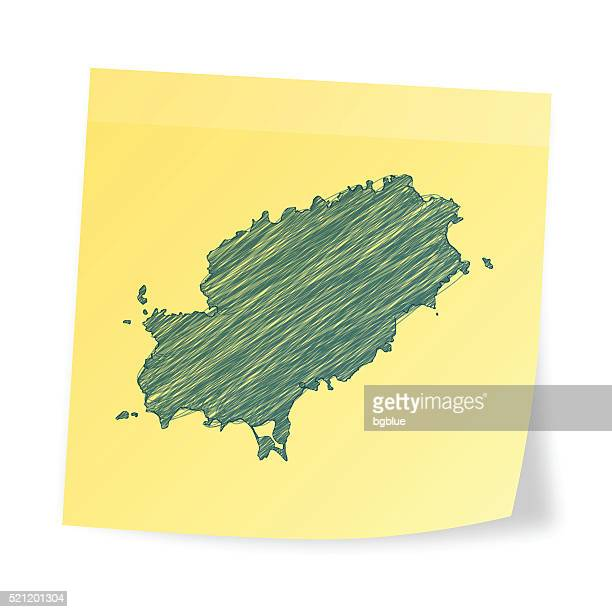 ibiza map on sticky note with scribble effect - ibiza island stock illustrations