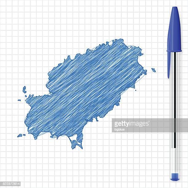 ibiza map sketch on grid paper, blue pen - ibiza island stock illustrations
