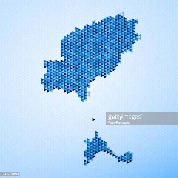 ibiza map triangle pattern blue - ibiza island stock illustrations