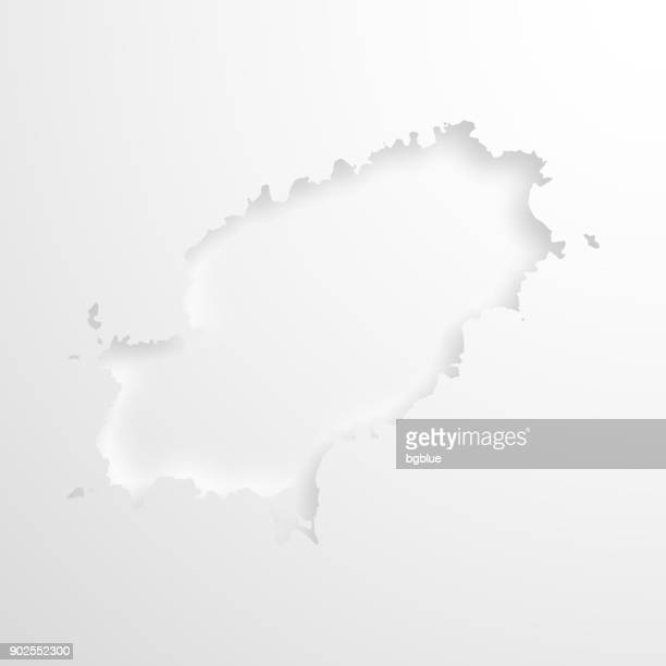 ibiza map with embossed paper effect on blank background - ibiza island stock illustrations