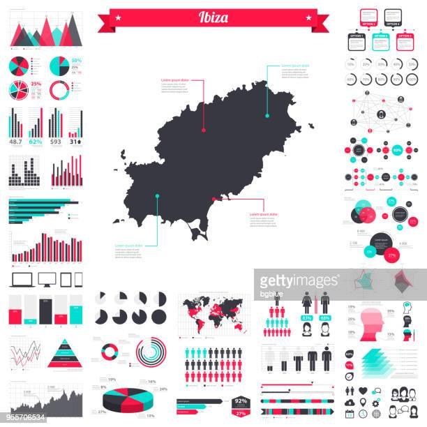 ibiza map with infographic elements - big creative graphic set - ibiza island stock illustrations