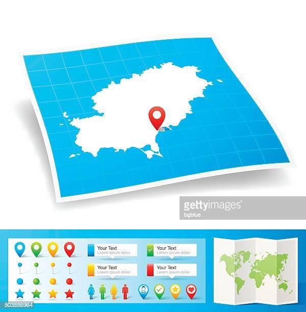 ibiza map with location pins isolated on white background - ibiza island stock illustrations