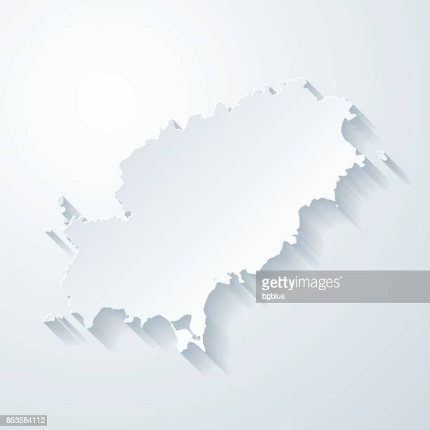 ibiza map with paper cut effect on blank background - ibiza island stock illustrations