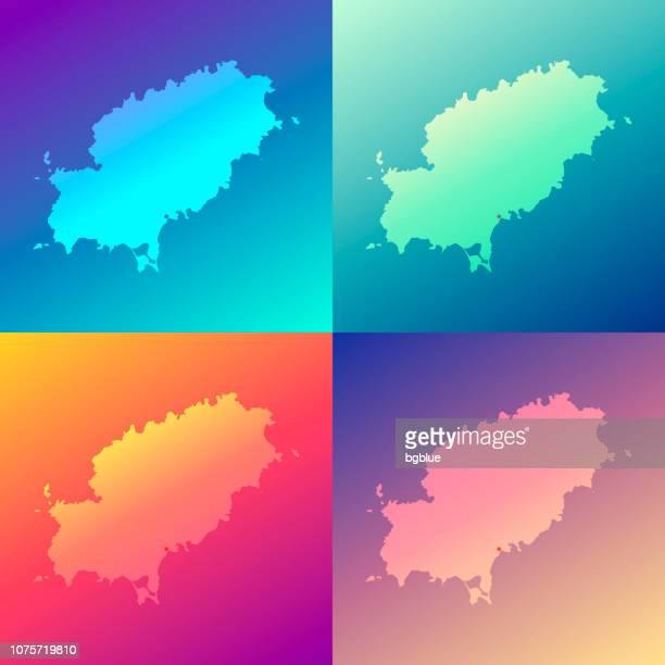 ibiza maps with colorful gradients - trendy background - ibiza island stock illustrations