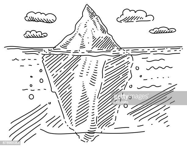 ice berg drawing - iceberg ice formation stock illustrations