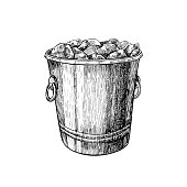 Ice bucket. Hand drawn isolated vector illustration. Jar for alcohol drink