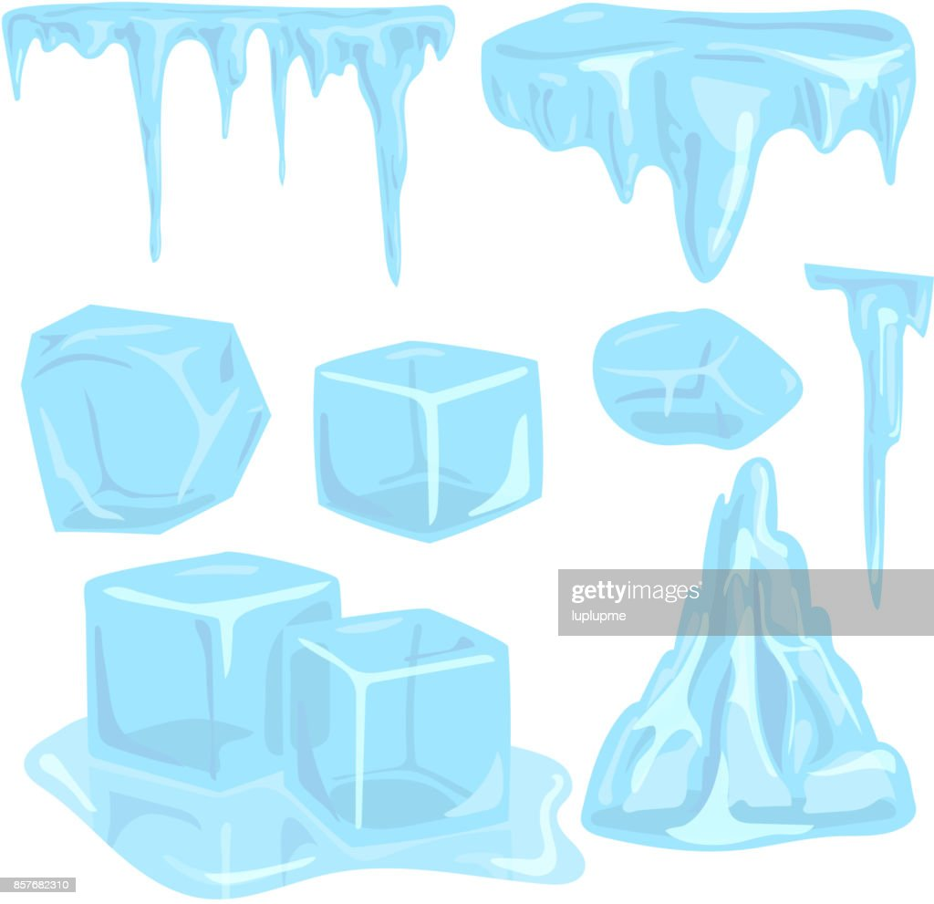Ice caps snowdrifts icicles elements arctic snowy cold water winter decor vector illustration